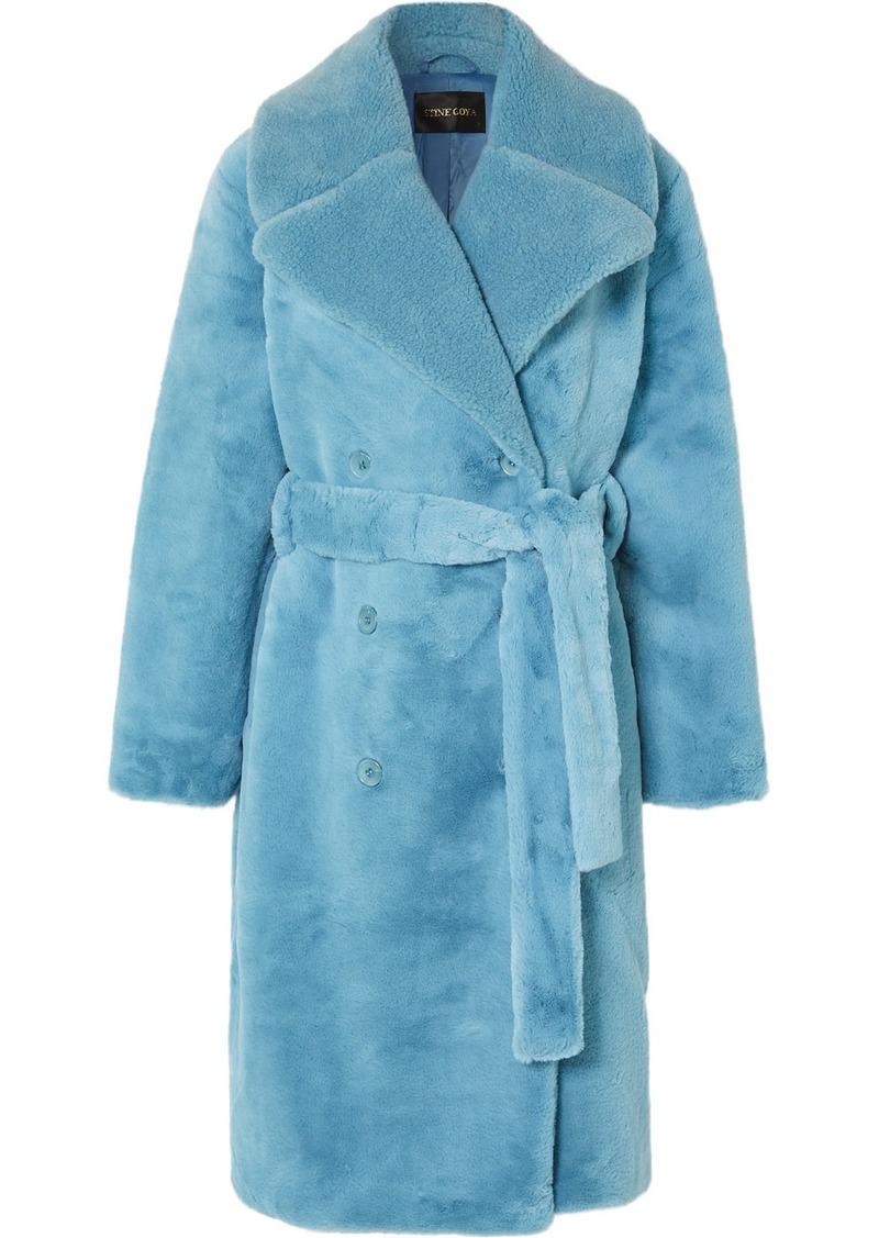 Stine Goya Happy Double-breasted Faux Fur Coat