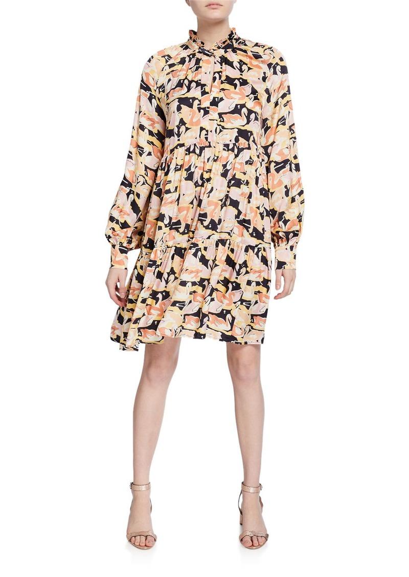 Stine Goya Jasmine Swan-Print Tiered Dress