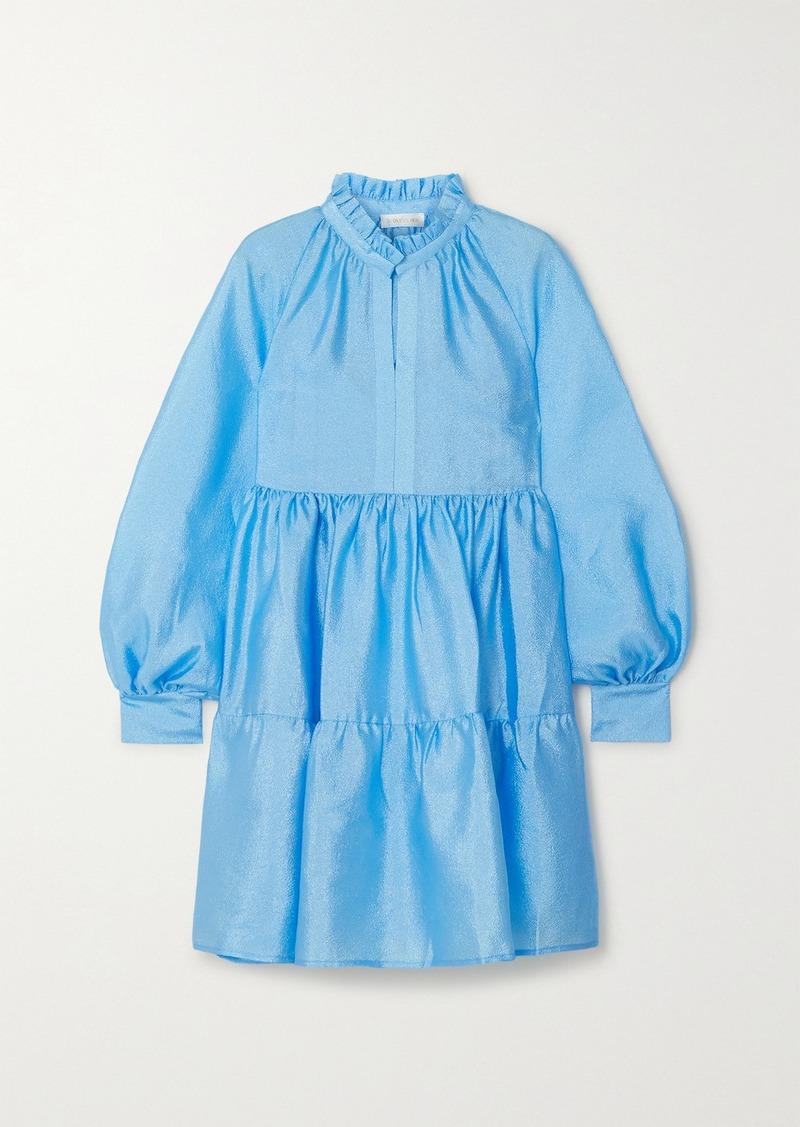 Jasmine Tiered Crinkled-taffeta Mini Dress
