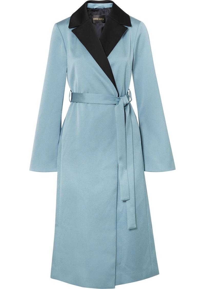 Stine Goya Leanne Two-tone Hammered-satin Coat