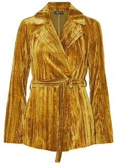 Stine Goya Lora Belted Crushed-velvet Blazer