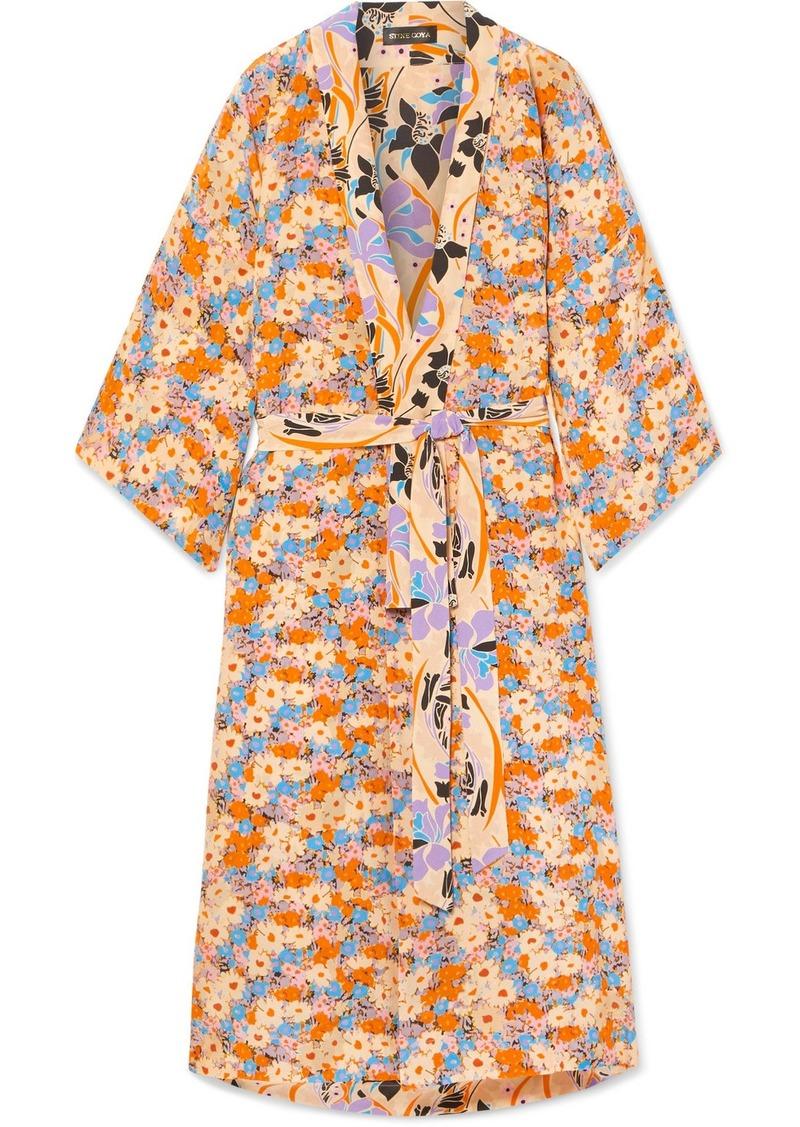 Stine Goya Nat Reversible Floral-print Silk Crepe De Chine Kimono