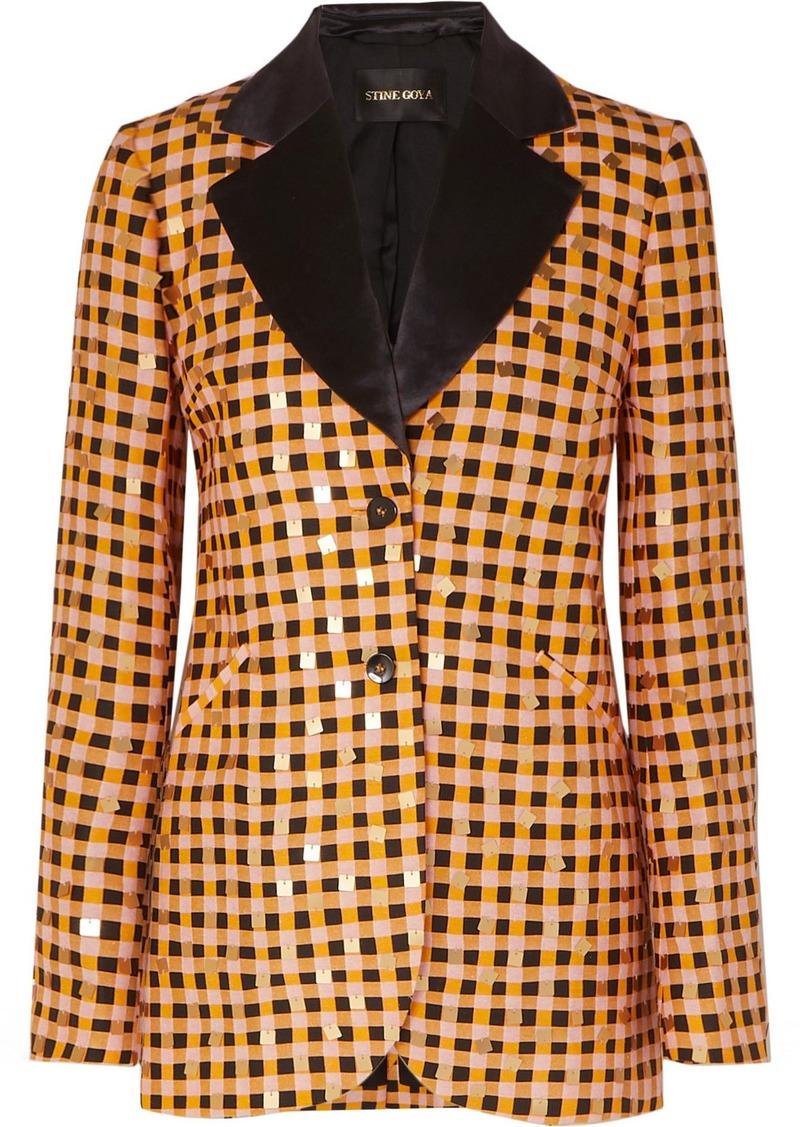 Stine Goya Net Sustain Florence Sequin-embellished Gingham Organic Hemp And Silk-blend Blazer