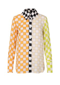 Stine Goya - Women's James Mixed-Check Crepe Shirt - Plaid - Moda Operandi