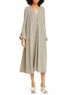 STINE GOYA Brooklyn Gingham Long Sleeve Midi Dress
