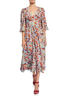 Stine Goya Evelyn Printed 3/4-Sleeve Midi Dress