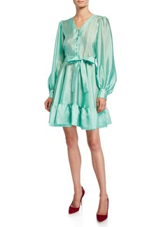 Stine Goya Farrow Button-Front Satin Tie-Waist Dress