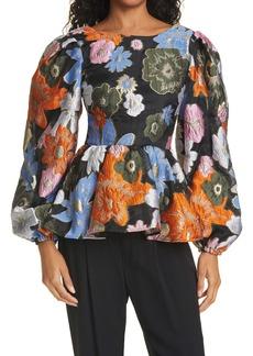 Stine Goya Gara Balloon Sleeve Floral Metallic Top