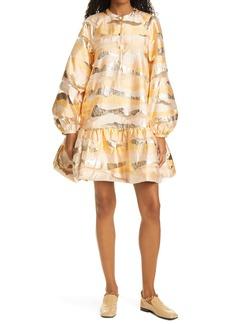 Stine Goya Josefine Metallic Stripe Long Sleeve Dress
