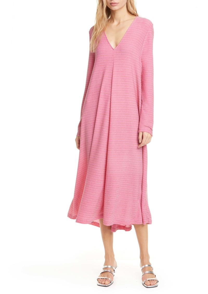 Stine Goya Lauren Metallic Stripe Long Sleeve Midi Shift Dress