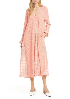 Stine Goya Leila Mixed Check Long Sleeve Shift Midi Dress