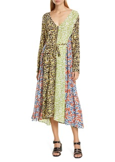 STINE GOYA Maca Mixed Floral Print Long Sleeve Silk Midi Dress