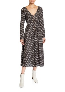 Stine Goya Maca Star-Print Long-Sleeve Midi Dress