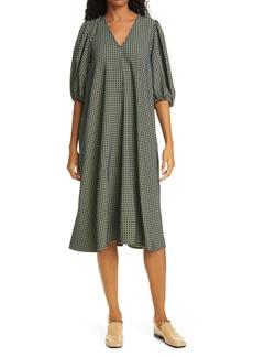 Stine Goya Mavelin Grid Print Puff Sleeve Midi Dress