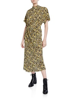 Stine Goya Rhode Floral-Print Mock-Neck Dress
