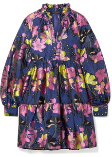 Stine Goya Tiered Floral-jacquard Mini Dress