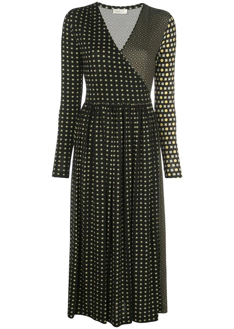 Stine Goya tile-print wrap-neck midi dress