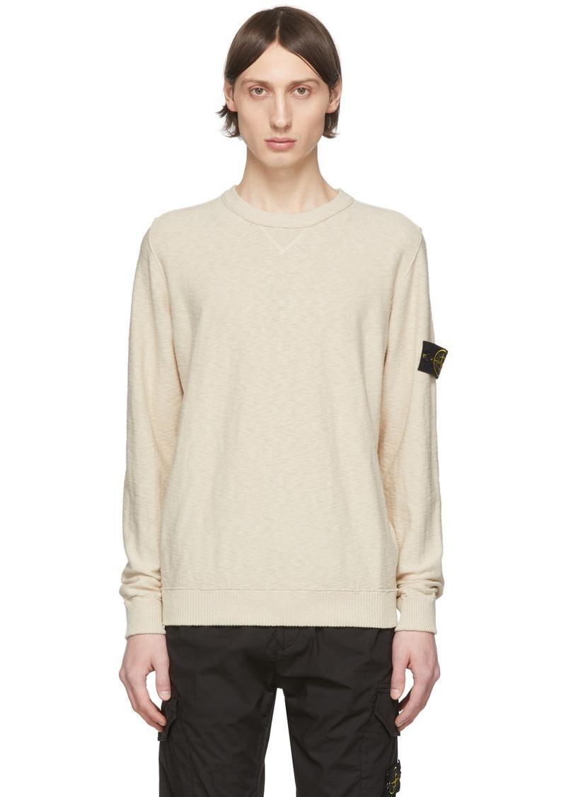 Stone Island Beige Knit Crewneck Sweater