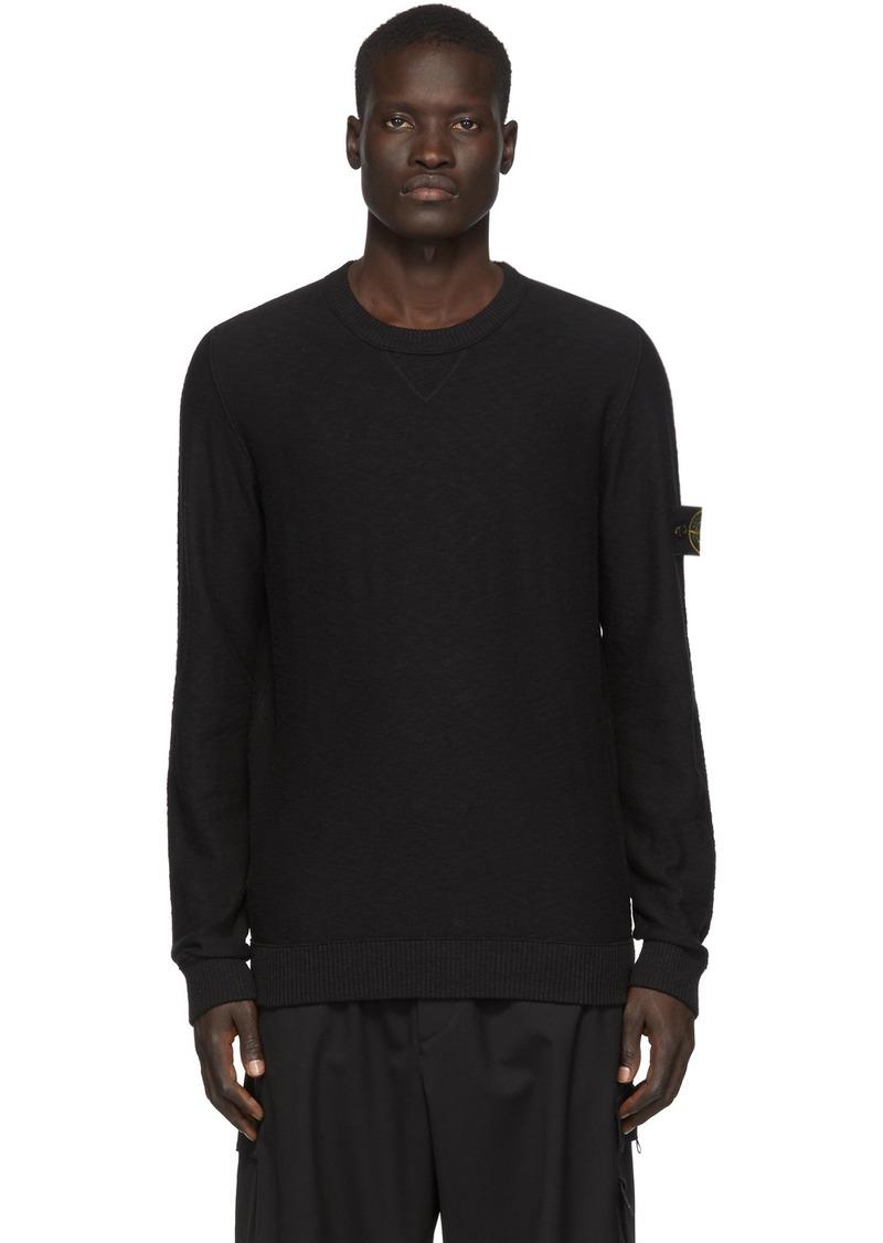Stone Island Black Knit Crewneck Sweater