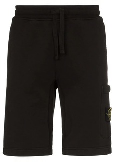 Stone Island black logo patch cotton track shorts