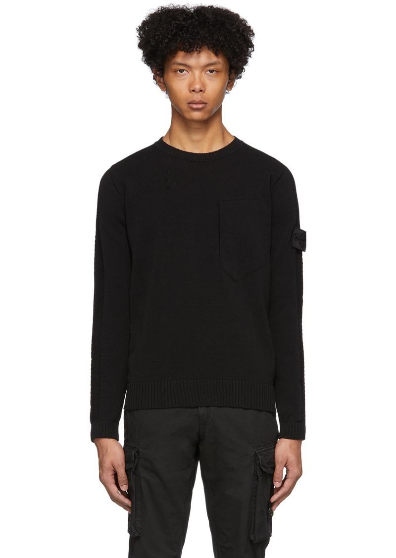 Stone Island Black Open Knit Sweater