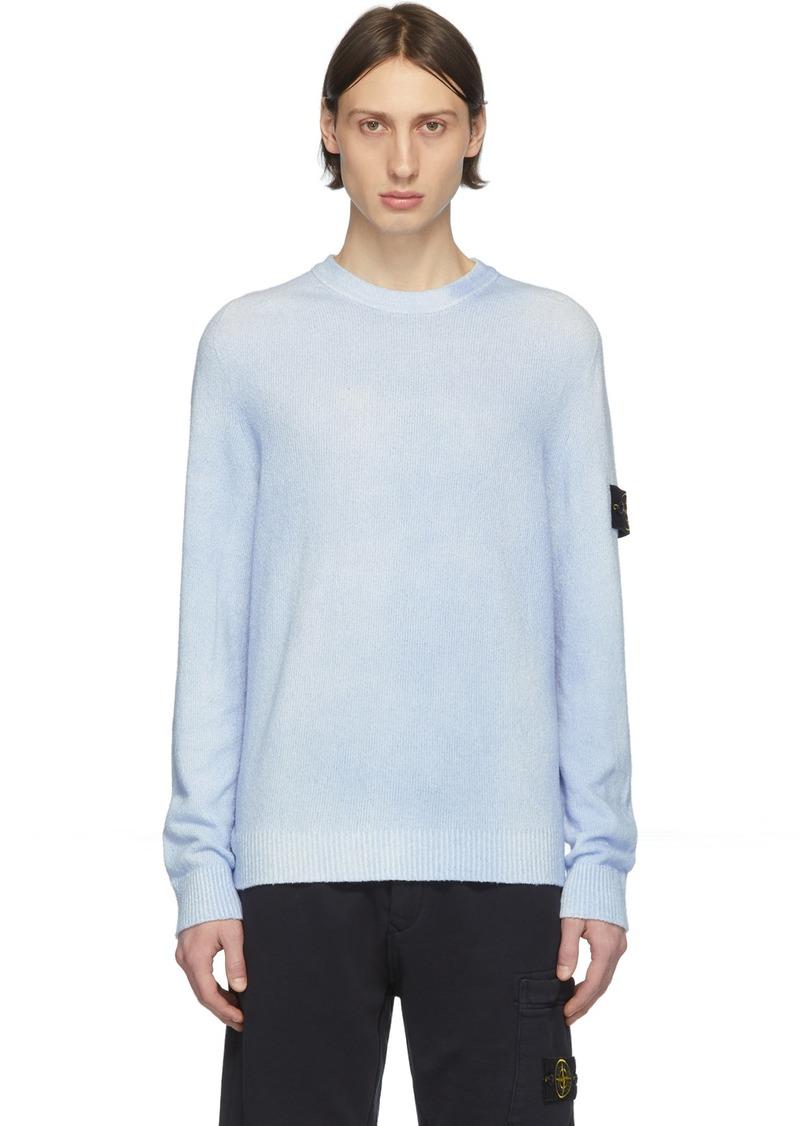 Stone Island Blue Hand-Dyed Knit Sweater