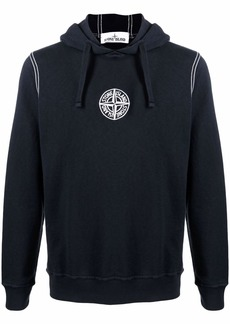 Stone Island embroidered logo cotton hoodie