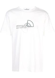 Stone Island garment dyed logo print T-shirt