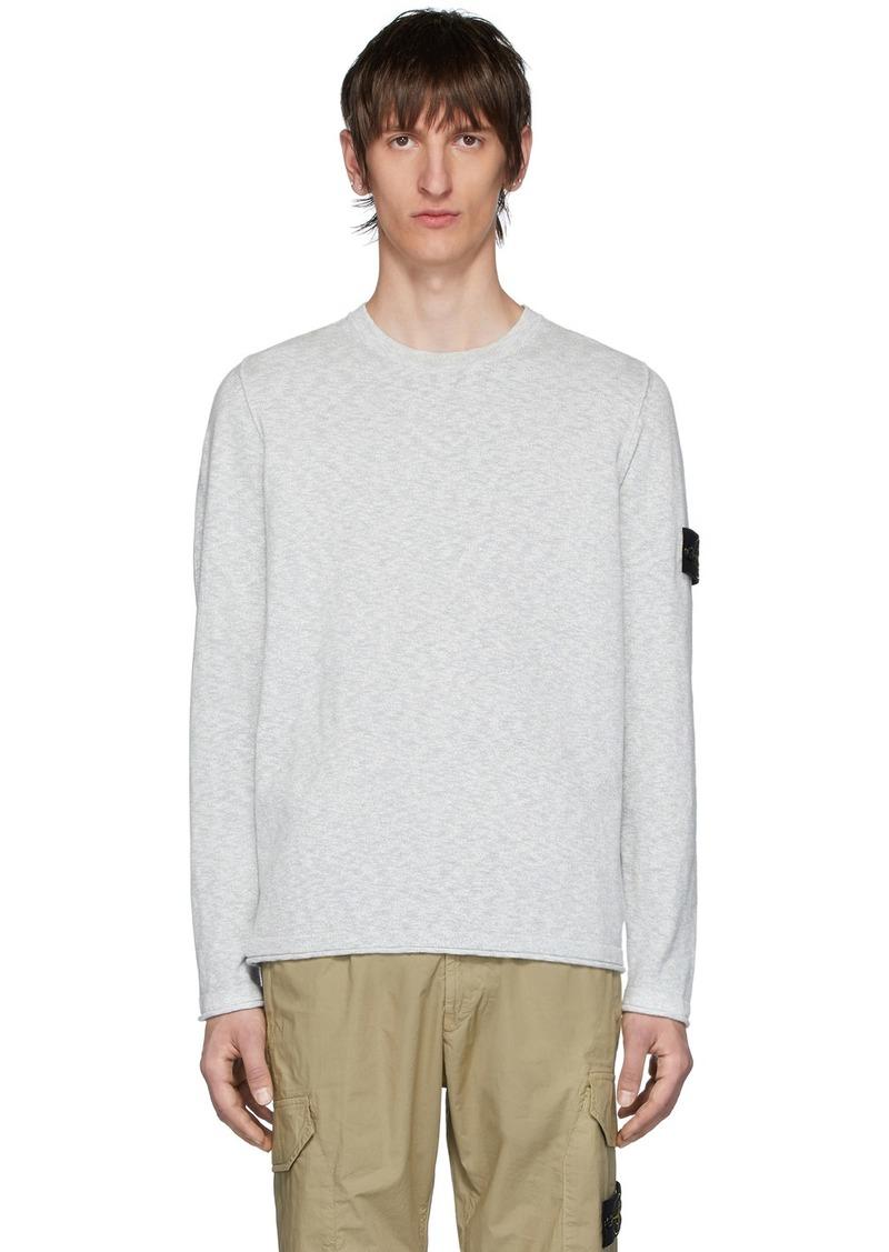 Stone Island Grey Slub Knit Sweater