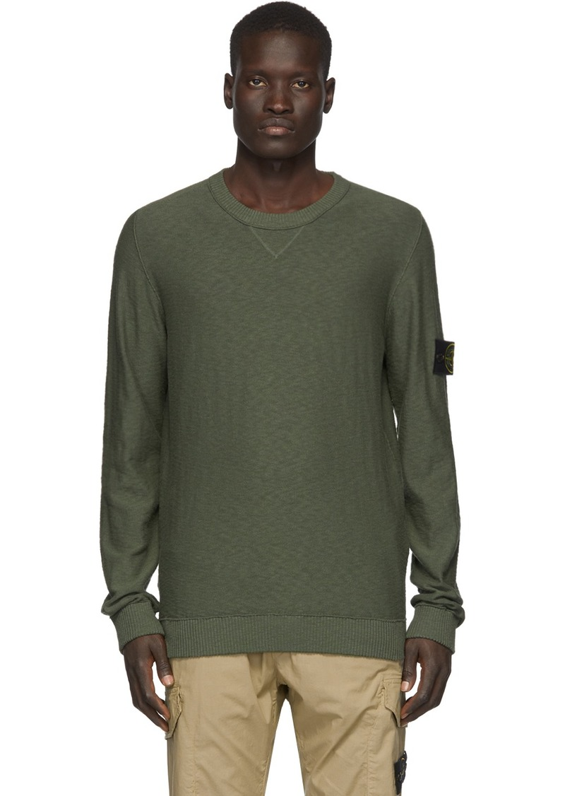 Stone Island Khaki Knit Crewneck Sweater