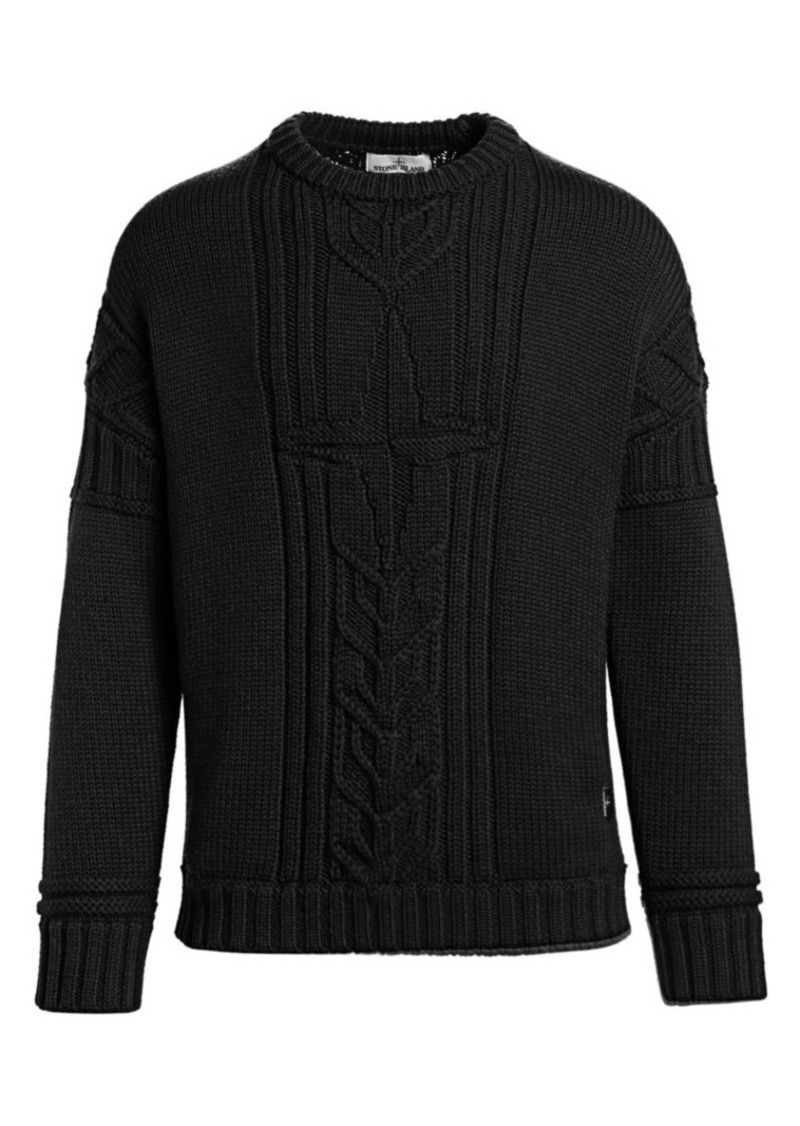 Stone Island Logo Cable Knit Sweater