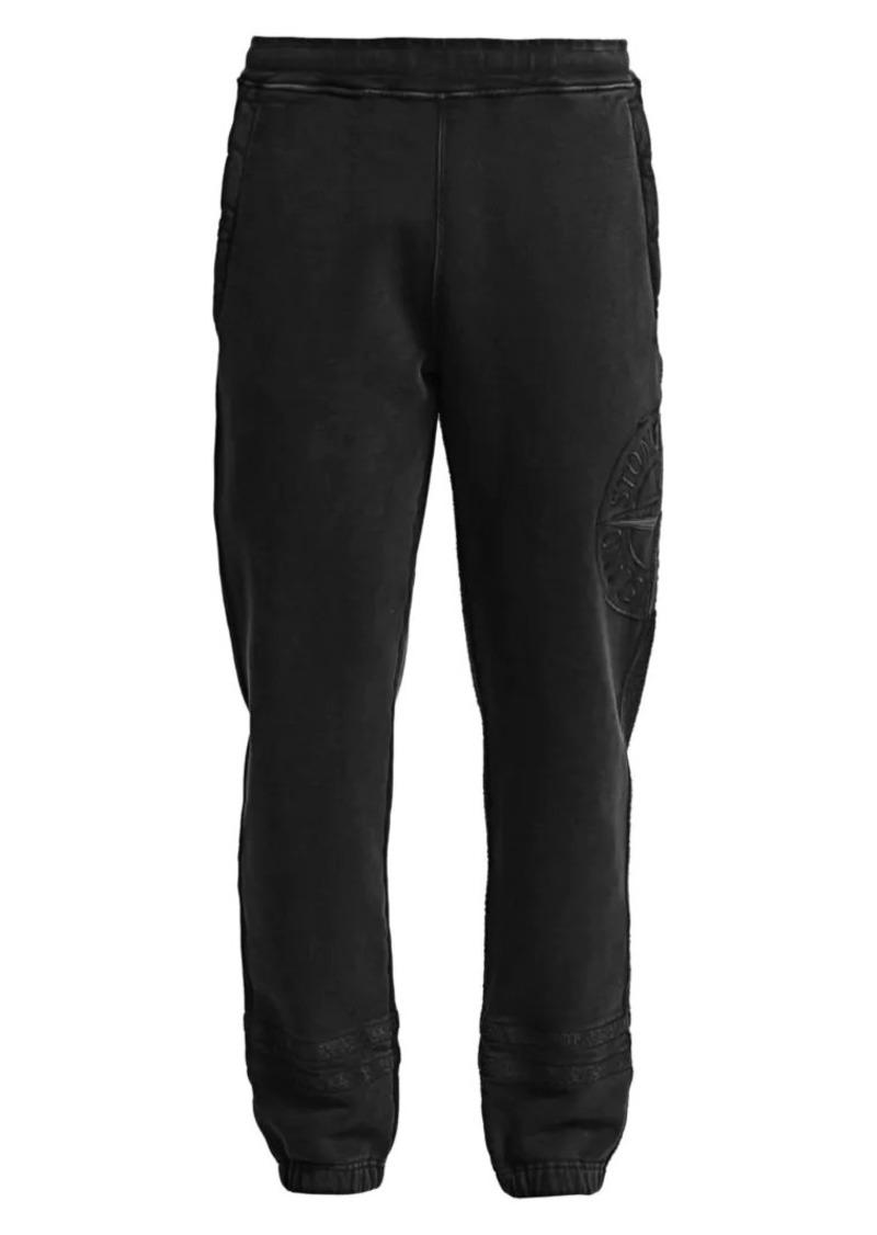 Stone Island Logo Cotton Fleece Sweatpants