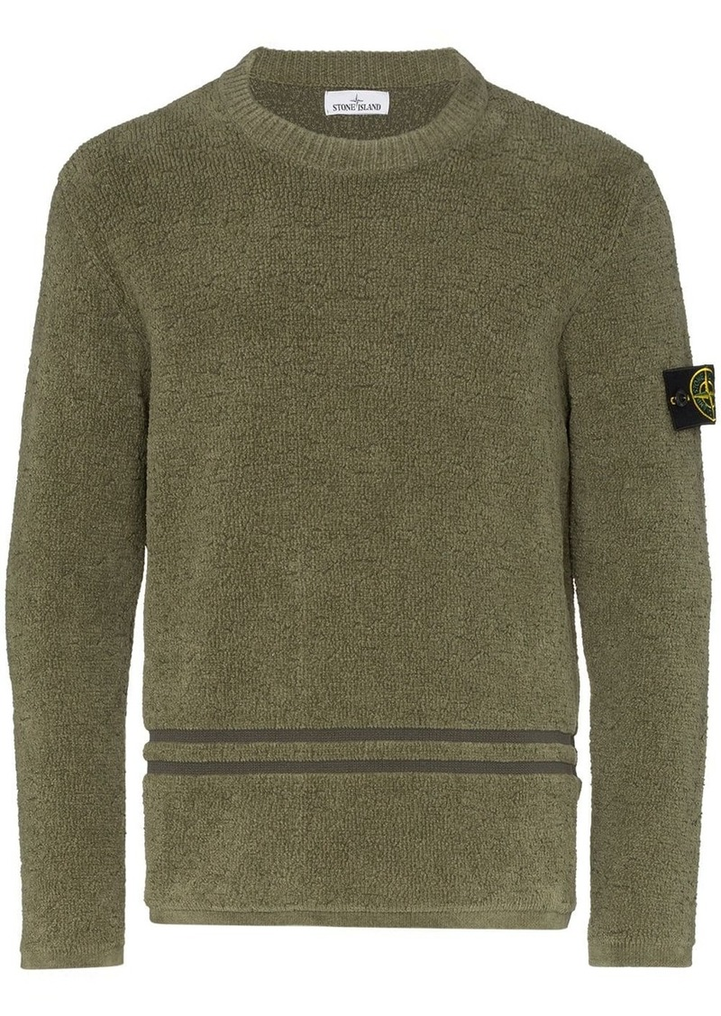 Stone Island logo-patch chenille sweater