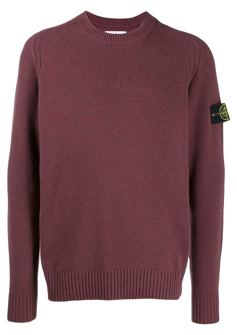 Stone Island logo patch knitted sweater