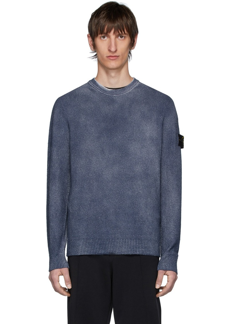 Stone Island Navy Hand-Dyed Knit Sweater