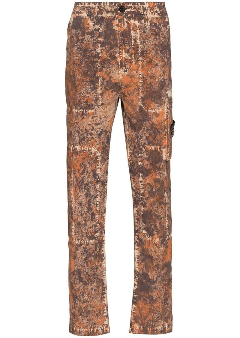 Stone Island mottled-effect straight-leg cargo trousers