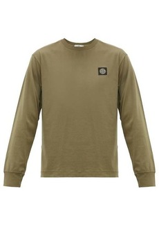 Stone Island Logo-patch long-sleeved cotton T-shirt