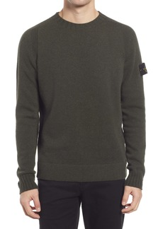 Stone Island Logo Patch Men's Wool Blend Crewneck Sweater