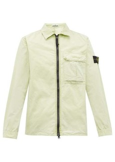 Stone Island Logo-patch zip-through crinkle-cotton jacket