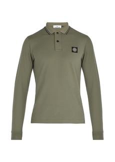 Stone Island Long-sleeved stretch-cotton piqué polo shirt