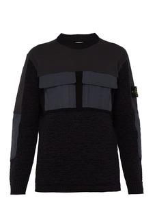 Stone Island Mixed-fabric tech-pocket knitted sweater