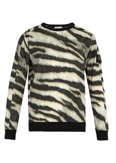Stone Island Tiger-print cotton-jersey sweatshirt