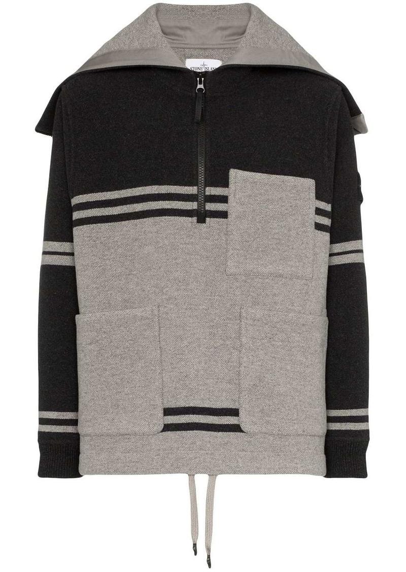 Stone Island stripe hooded pocket zip jumper