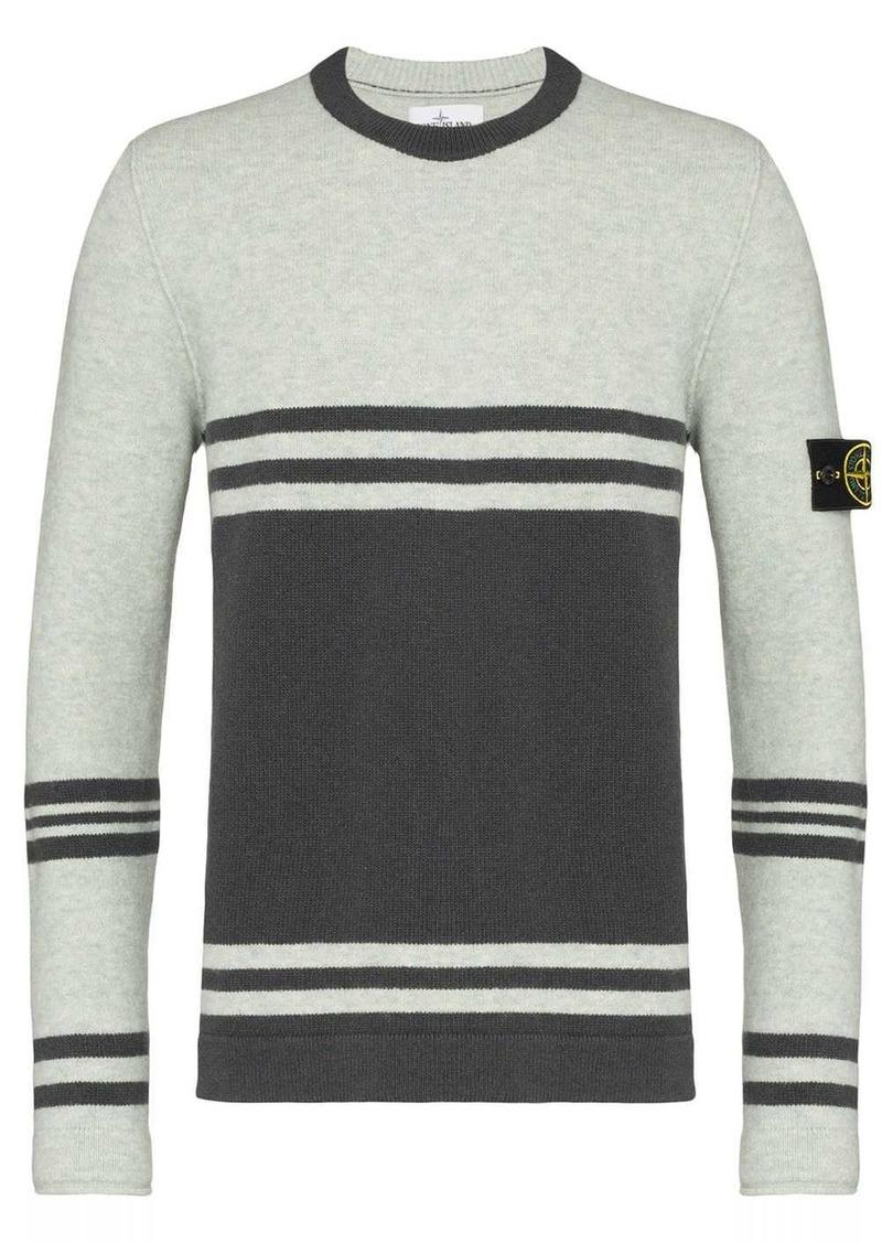 Stone Island striped crew-neck jumper