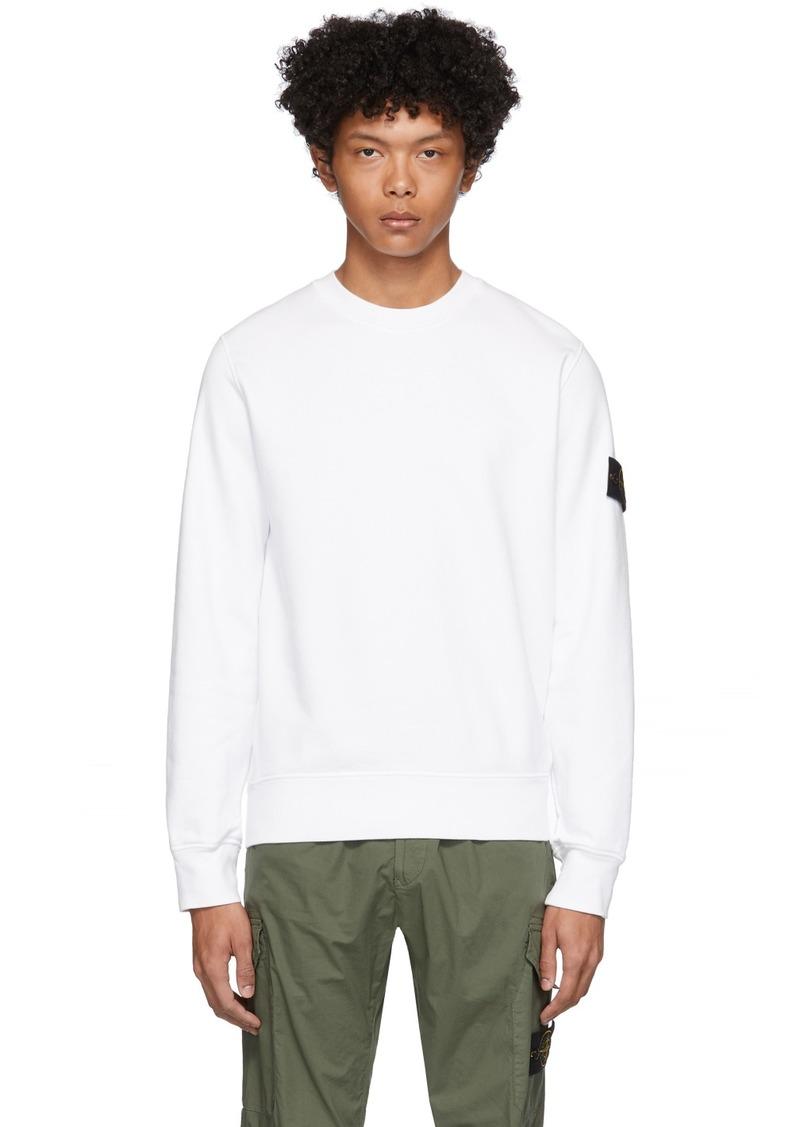 Stone Island White Garment-Dyed Sweater