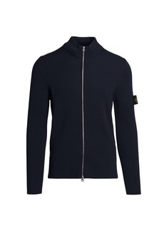 Stone Island Zip-Front Ribbed Wool Sweater
