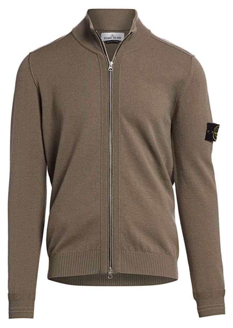Stone Island Zip-Up Wool-Blend Sweater