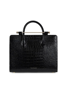 Strathberry Midi Croc-Embossed Leather Tote