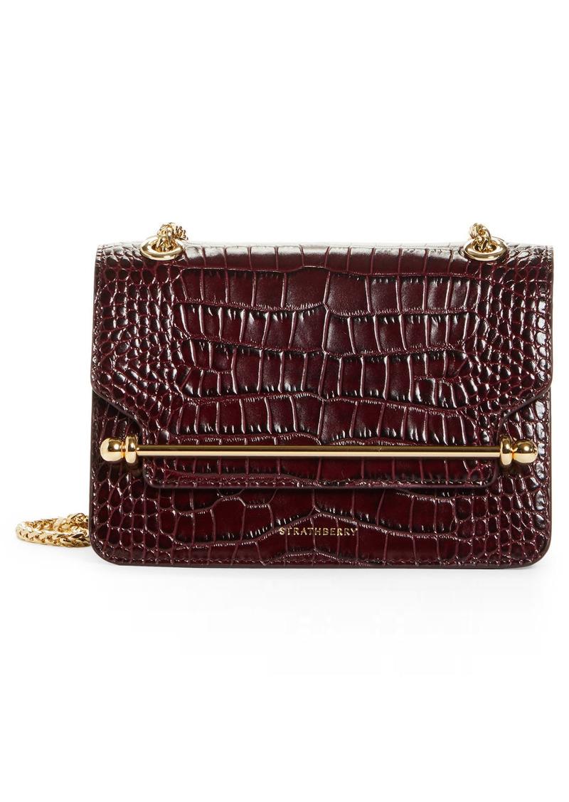 Strathberry Mini East/west Croc Embossed Leather Shoulder Bag - Burgundy