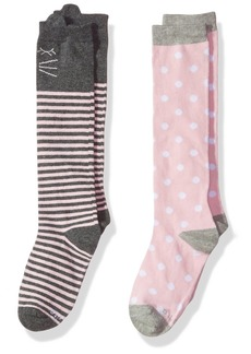 Stride Rite Little Girls' 2pk Kathryn Kitty Comfort Seam Knee High Kathryn Kitty-Charcoal 7-8.5 (Shoe Size 10-13)